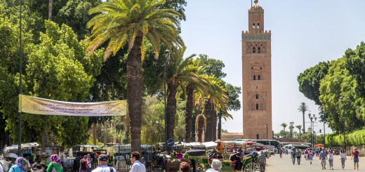 MARRAKESH, MOROCCO - SEPTEMBER 12, 2015: Unidentified people on the street of Marrakesh Morocco. Marrakesh is the fourth largest city in Morocco.