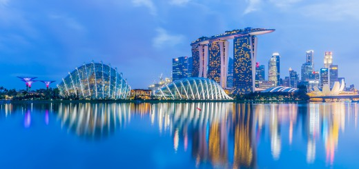 Singapore Skyline And View Of Marina Bay At Twilight
